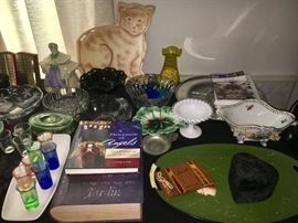 Tables full of vintage items--glassware, china, décor.