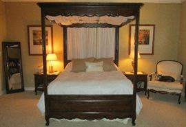 Henredon bed and nightstands. Two dressers pictured separately.