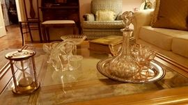 Glass top coffee table, vintage glass and crystal accessories