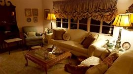 Gorgeous, Pristine Ivory Damask Sofa and Love Seat with coordinating coffee table