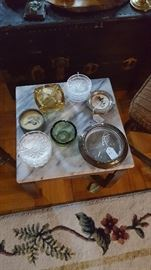 Marble Topped Plant Stand/Occasional Table with Vintage Glassware