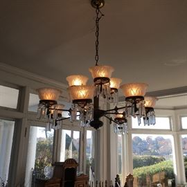 19 th c . Gas chandelier converted to electric ( we have two of these)