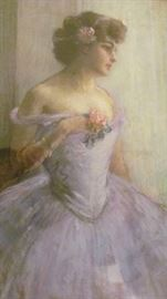 "Louis Kronberg. Large Portrait. Titled ""The Rose"". Signed and Dated 1906. Paris ."