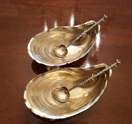 Pair of Gorham Oyster Dishes with spoons.