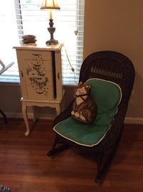 Wicker rocker & jewelry box