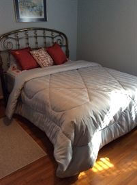 Brass bed with mattress, queen size