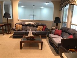 3 piece living room set, couch, love seat, chair and ottoman