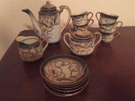 Japanese dragon tea set -- 17 pieces