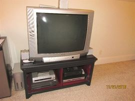 LARGE TV, TV STAND, LASER DISC PLAYER, VCR, DVD PLAYER