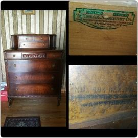 A.C. Norquist Early 1900's Dresser. Outstanding craftsmanship, near perfect condition with dovetail joints. This solid piece will make a great addition to any home and will last generations.
