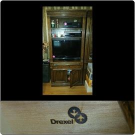 Drexel Wall Unit, piece #1 of 3. Has one drawer and enclosed cabinet at bottom for storage. Can purchase individually or all three pieces. (Electronics shown are not for sale)