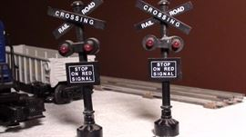 Free standing RR Crossing lights. Sold as part of the total model train set.
