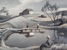 "Thomas Hart Benton ""Roosterville Farm"" Original Painting"