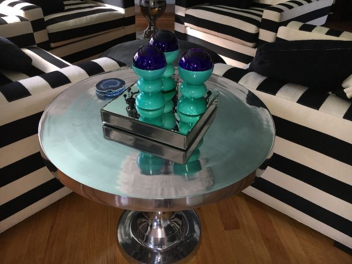 These chrome tables are elegant and versatile