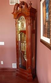 Sligh Grandfather Clock, weight driven.  Moon phase, exceptional!  Note the extraordinary detailing in the case along with the weights and pendulum,    Size  84 H, 15D, 33 W
