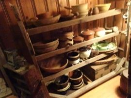 Primitive Bowls & Crocks on Old Shoe Factory Display