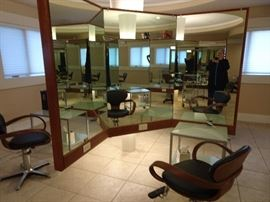 Custom Built Mirrored Round-abouts each with four Work Stations. Three Available.