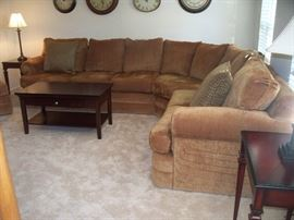 Custom Fabric Sectional and Ottoman - Coffee Table - Side Tables - Table Lamps