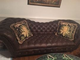 Horchow leather tufted sofa.