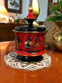 Hand made in Italy, Florentine covered jar