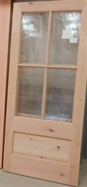 Knotty Alder wood with custom rain glass