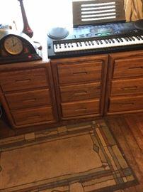 3 of 4  3-drawer chests, mantel clock, Radio Shack keyboard