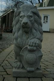 Granite lion (pair or separate) available at business.