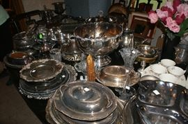 Assorted silver plate serving pieces, silver plate punch bowl
