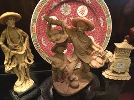 Decorative plate and figurines