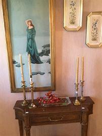 Original art, brass candle sticks, entry piece