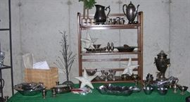 Pewter, silverplate, and weighted sterling pieces. Vintage linens.