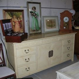 Oriental-influence chest of drawers, Victorian pictures, silverplated flatware, antique clock