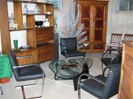 BRNO stainless steel chairs, replica Noguchi coffee table, mid-century modern teak , wall unit, vintage aluminum Christmas tree (with box and sleeves)