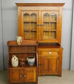 2 Pc. Cherry Cupboard, Bucket Bench, Crocks