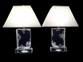 PAIR LARGE VINTAGE LUCITE LAMPS, CLEAR LUCITE WITH ICE MOTIF, WITH LUCITE FINIALS