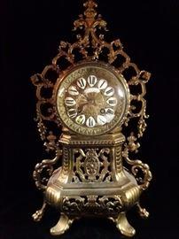 FRENCH 19TH C. GILT BRONZE MANTEL CLOCK, MARKED O. DOUTRELON DE TRY, PLACE DE LA GARE, LILLE, FRANCE