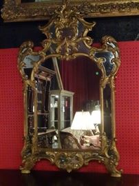 "LARGE ROCOCO GILT WOOD MIRROR, 58""H"