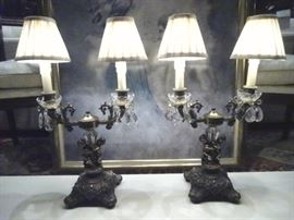 PAIR ORNATE FIGURAL LAMPS WITH CRYSTAL DROPS