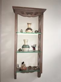 Decorative Shelf with Pottery and Figurines