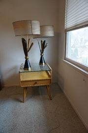 Mid-Century, blonde oak corner table, and very unusual lamps.