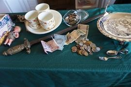 Foreign currency, Autumn leaf-incredibly nice condition, wind up doll, sword, Pairpoint handled server-sterling children's flatware