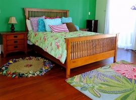 Mission Style Queen Bed & Night Stands                Colorful & Whimsical Rugs