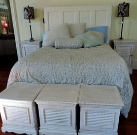 Shabby Chic Bed with Antique Door Headboard              Shabby Chic Shuttered Storage Cubes