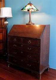 Secretary Desk with Stained Glass Lamp
