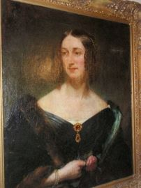 Portrait of Mary Jane Massy Dawson Evelyn wife of George. In carved Giltwood Frames Circa 1800's Artist: Sir Martin Archer Shee
