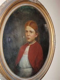 Early Oil painting in oval frame