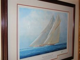 """Yachts of the American Cup "" The Big Racing Cutters"" Artist - Thompson  Special Edition"