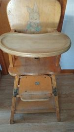 Antique wooden highchair