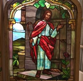 Wonderful antique very fine stained glass window depicting Christ