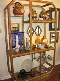 Midcentury/mod look display. This is just a fraction of all the great decorative items of all shapes, sizes and decors